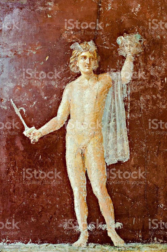 Mercury  fresco in Pompeii  on a red background stock photo