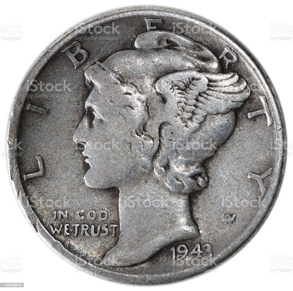Mercury Head Dime From 1943 royalty-free stock photo