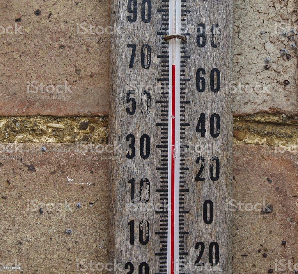Mercury thermometer - outside temperature. stock photo