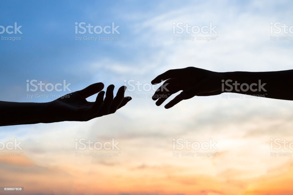 mercy, two hands silhouette, help concept stock photo