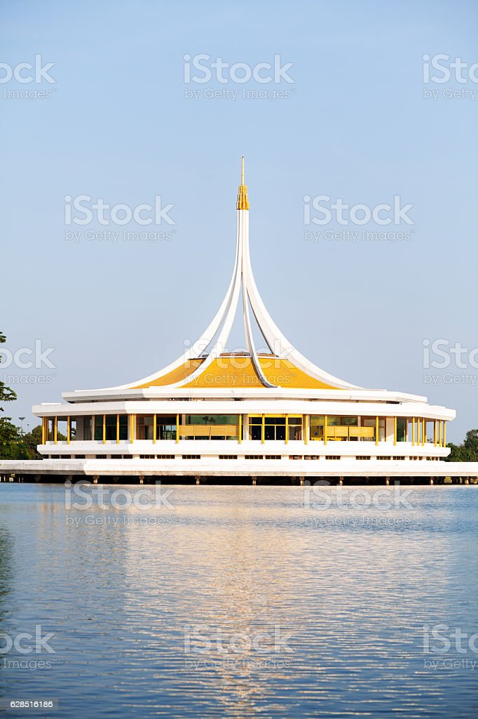 Mere and pavillion of Rama 9 Park stock photo