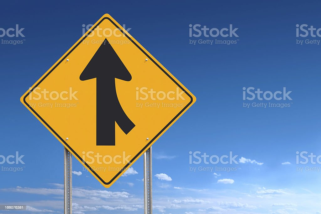 Merge Converge Ahead Road Sign Post Over Blue Sky Background stock photo