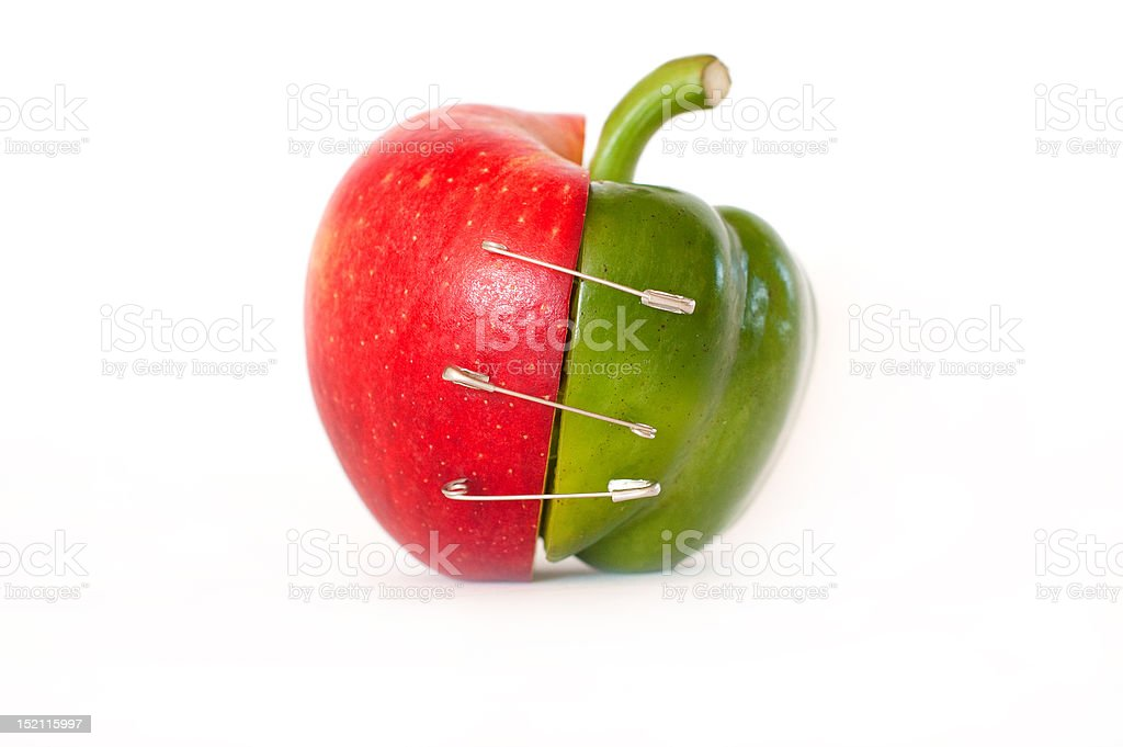 Merge of apple and pepper - isolated on white stock photo