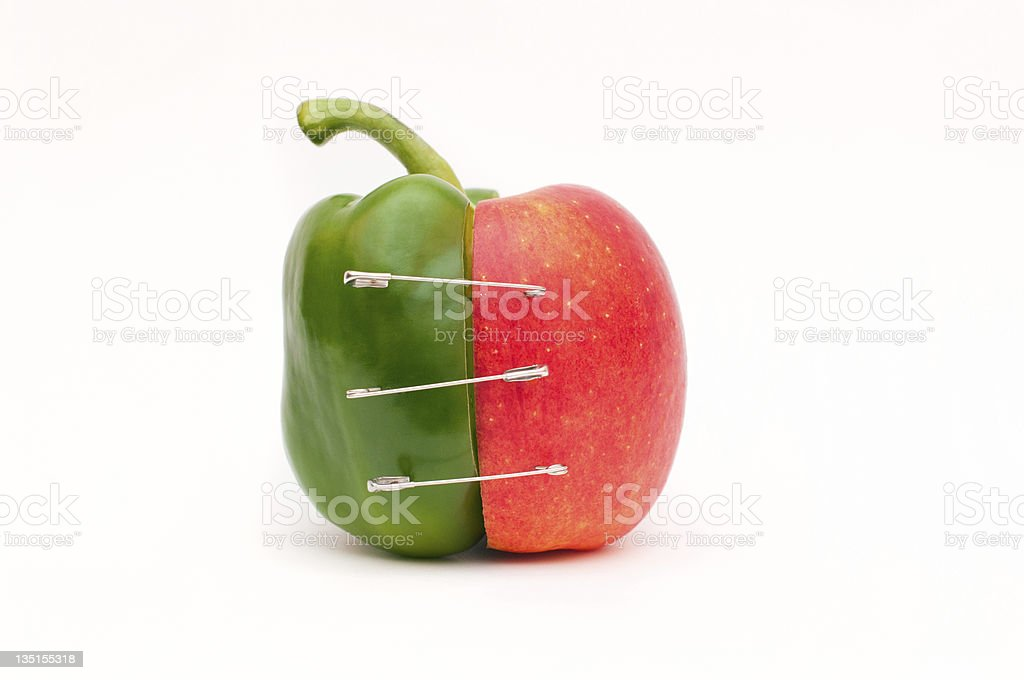 Merge of pepper and apple stock photo