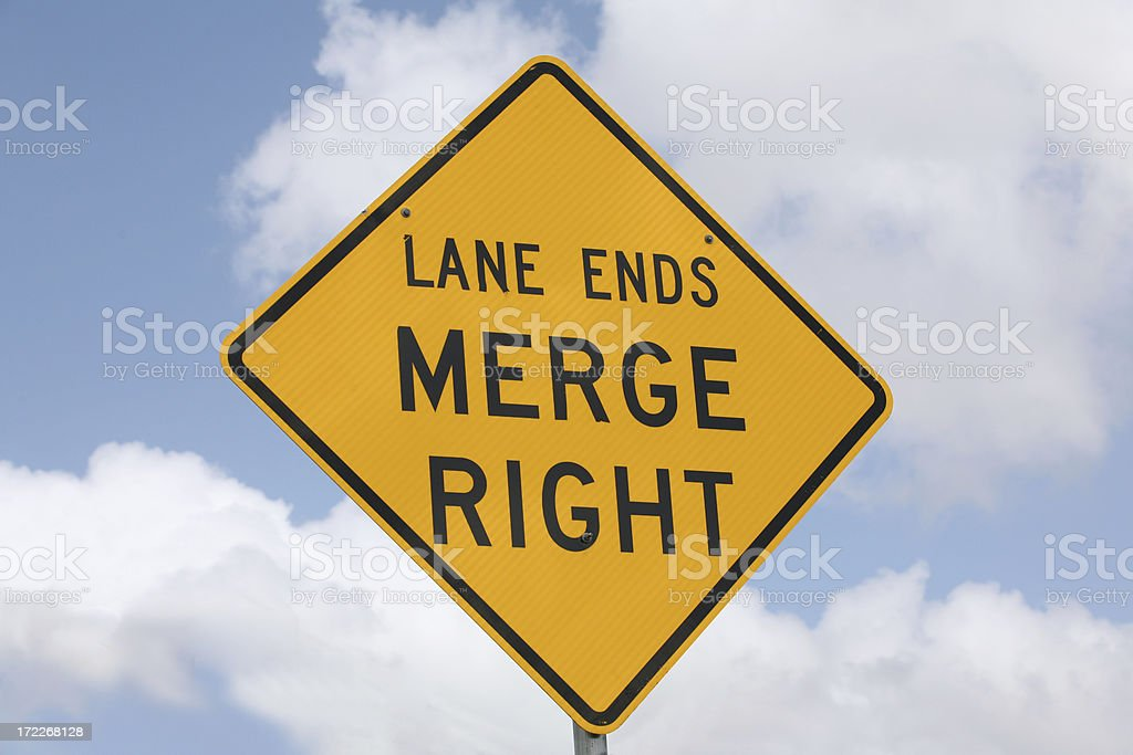 merge right sign stock photo