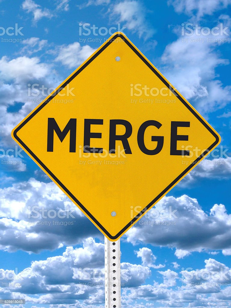 Merge Road Sign Blue Sky stock photo