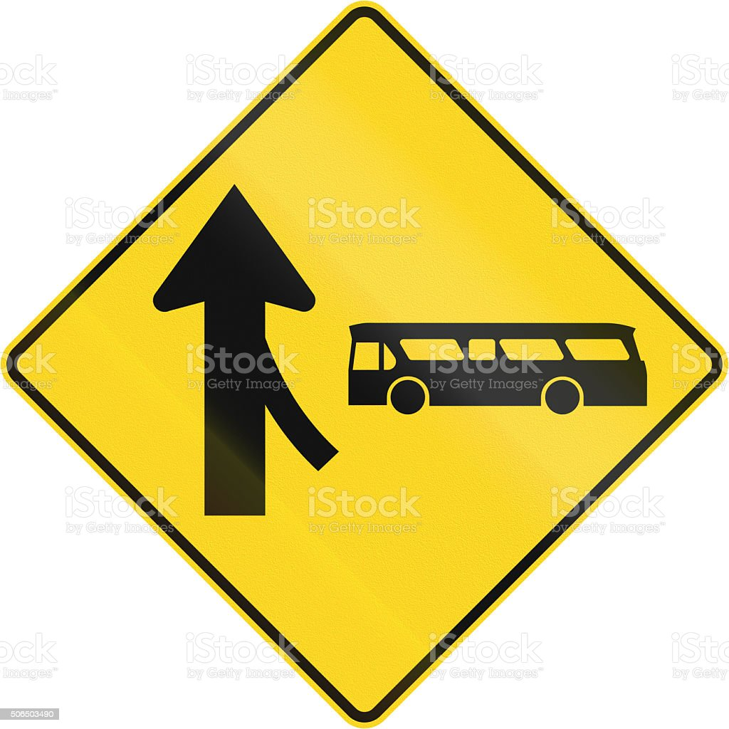 Merge With Bus From Right Ahead In Canada stock photo