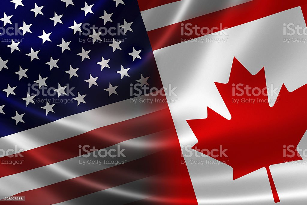 Merged Flag of Canada and USA stock photo