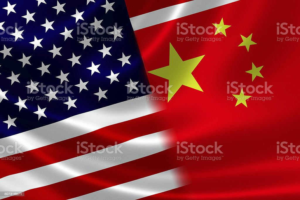 Merged Flag of China and USA stock photo