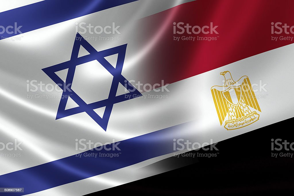 Merged Flag of Israel and Egypt stock photo