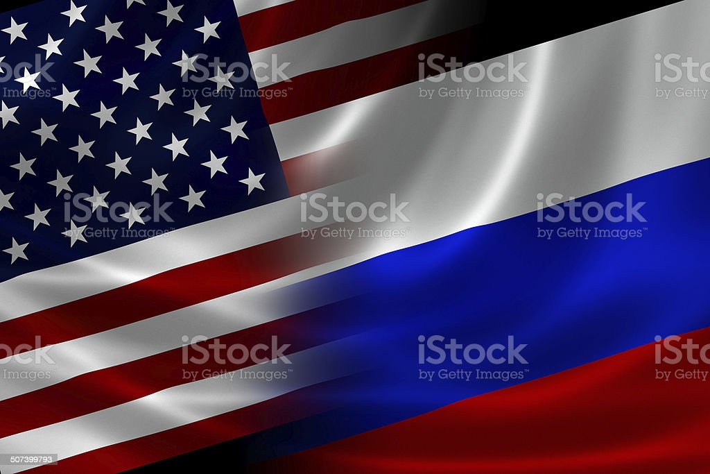 Merged Flag of USA and Russia stock photo