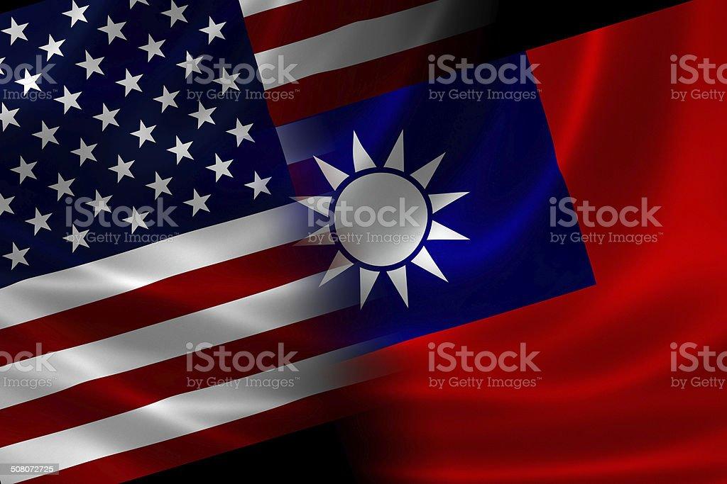 Merged Flag of USA and Taiwan stock photo