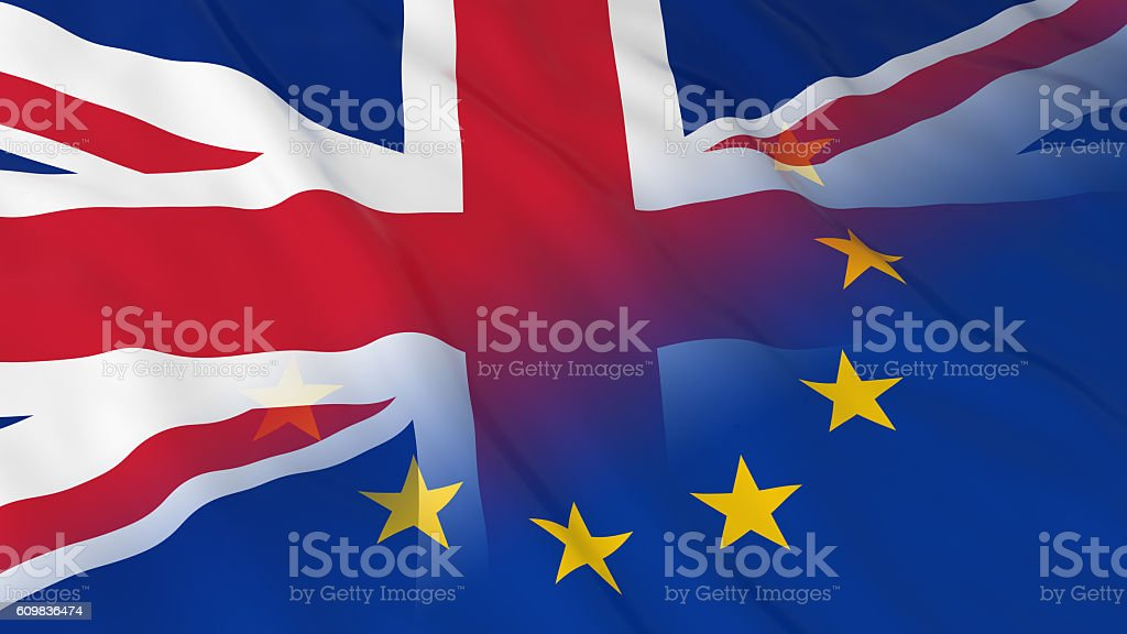 Merged Flags of Britain and the EU 3D Illustration stock photo