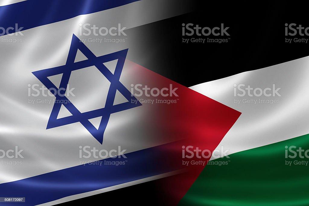 Merged Israeli and Palestinian Flag stock photo