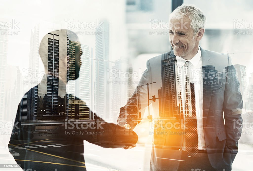 Merging in the city of business stock photo