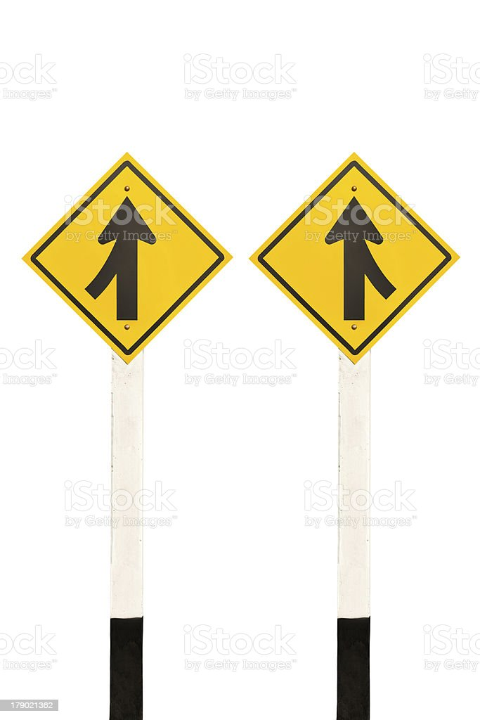 Merging lane from left and right road signpost stock photo
