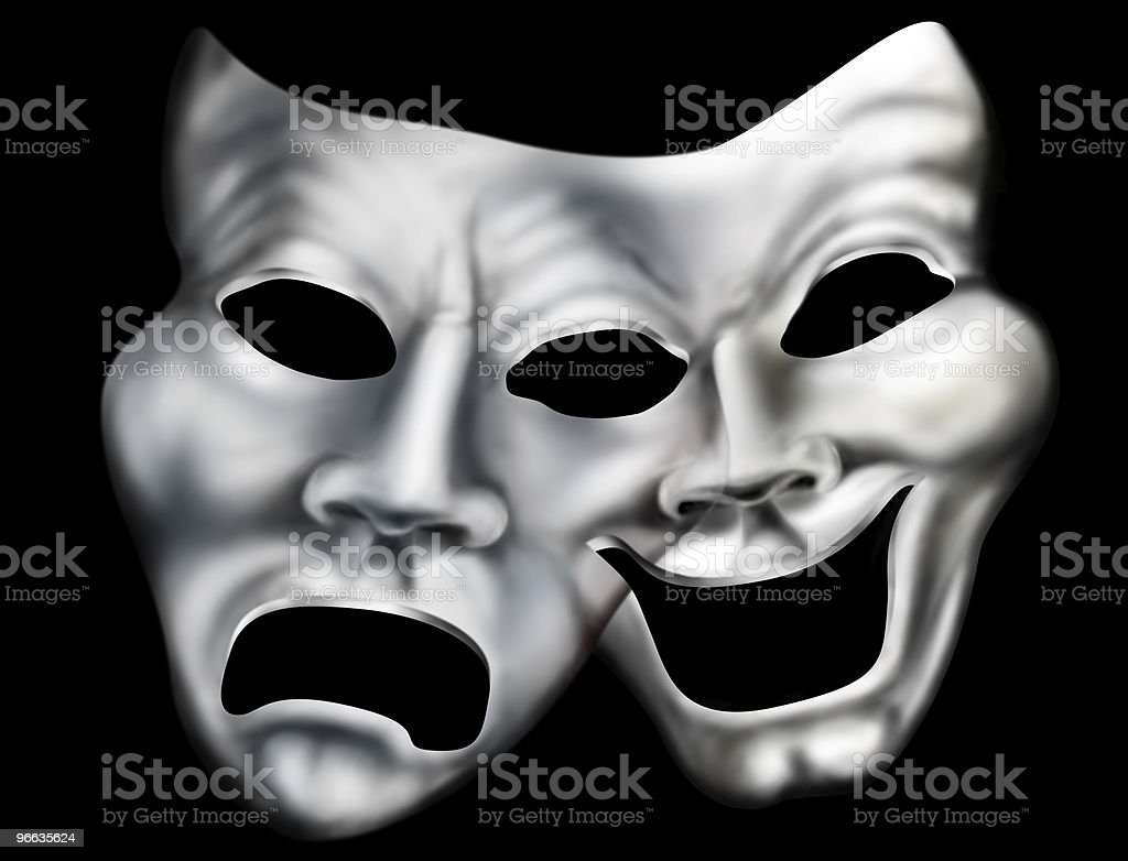 Merging theater masks royalty-free stock photo