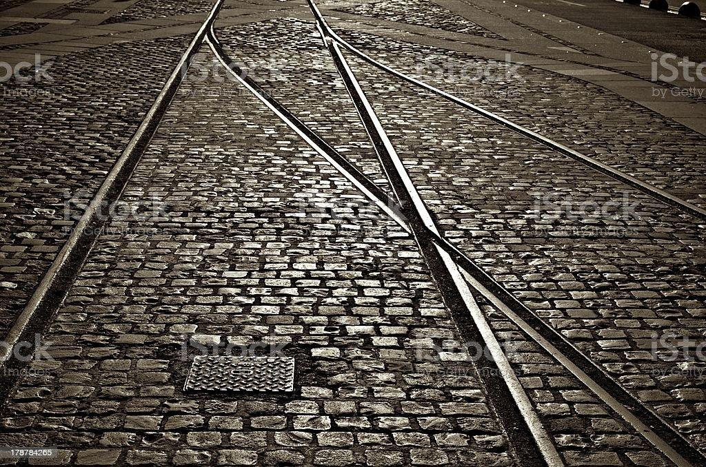 Merging tracks stock photo