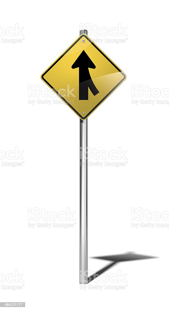 Merging traffic warning sign (USA) with clipping path stock photo