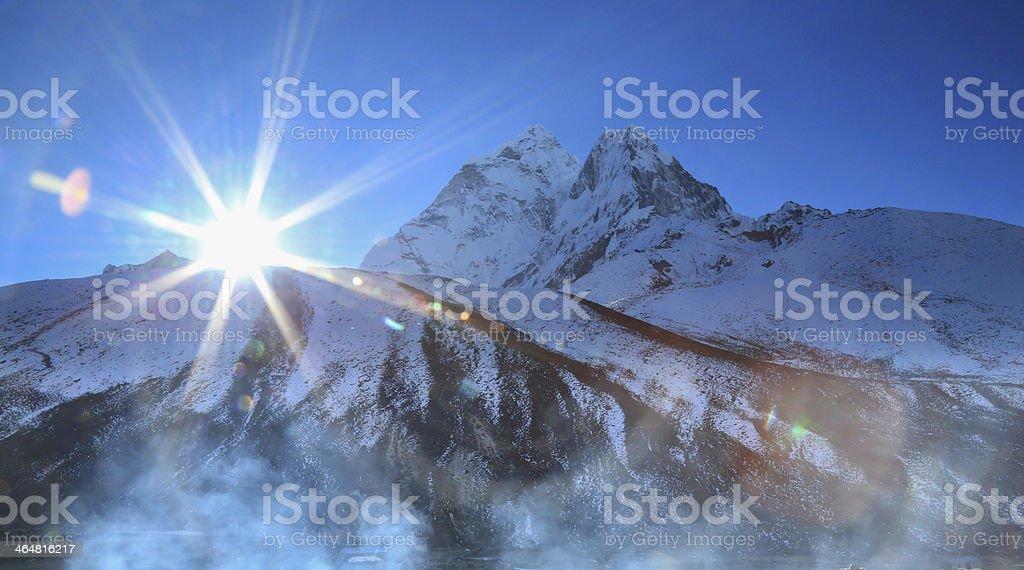 merha peak flare sunlight cabin  from everest trek route royalty-free stock photo