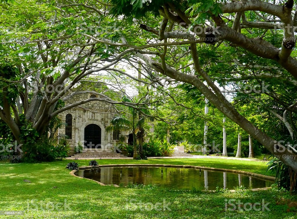 .'Merida Mexico colonial house architecture mexican living stock photo