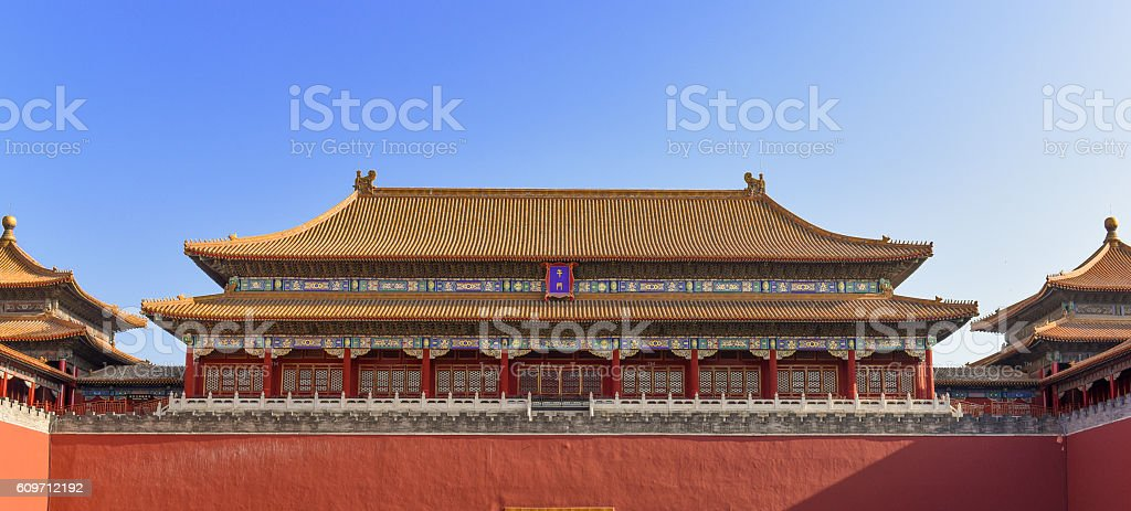 Meridian Gate South Entrance to Forbidden City, Beijing stock photo