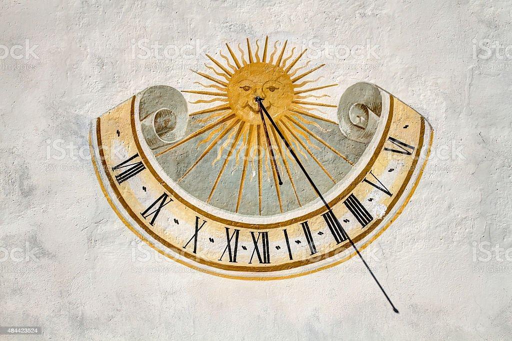 Meridiana, time sundials, Val Badia,Dolomites, Sudtirol stock photo