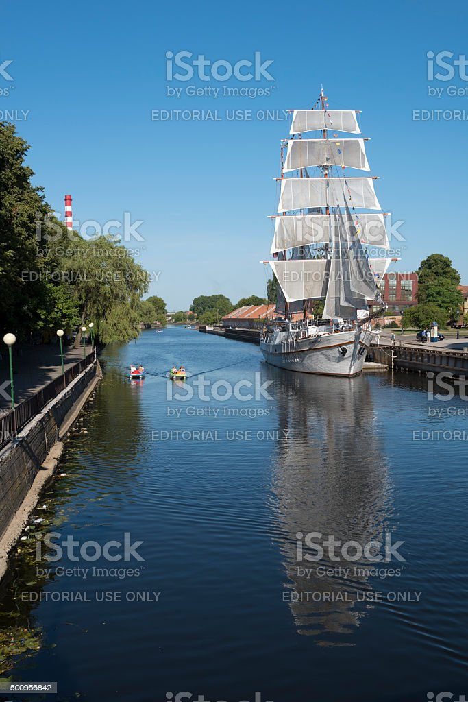 Meridianas on Dane River in Klaipeda, Lithuania stock photo