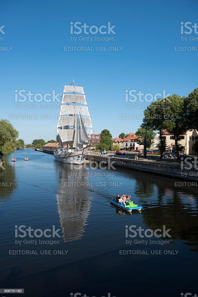 Meridianas ship on Dane River in Klaipeda, Lithuania stock photo