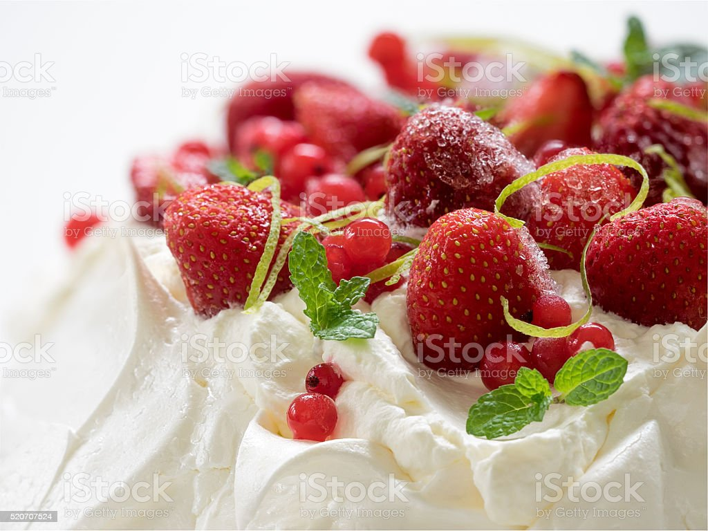 Meringue cake Pavlova stock photo