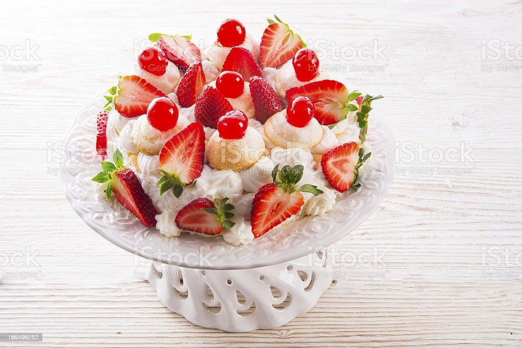 meringue-based dessert stock photo