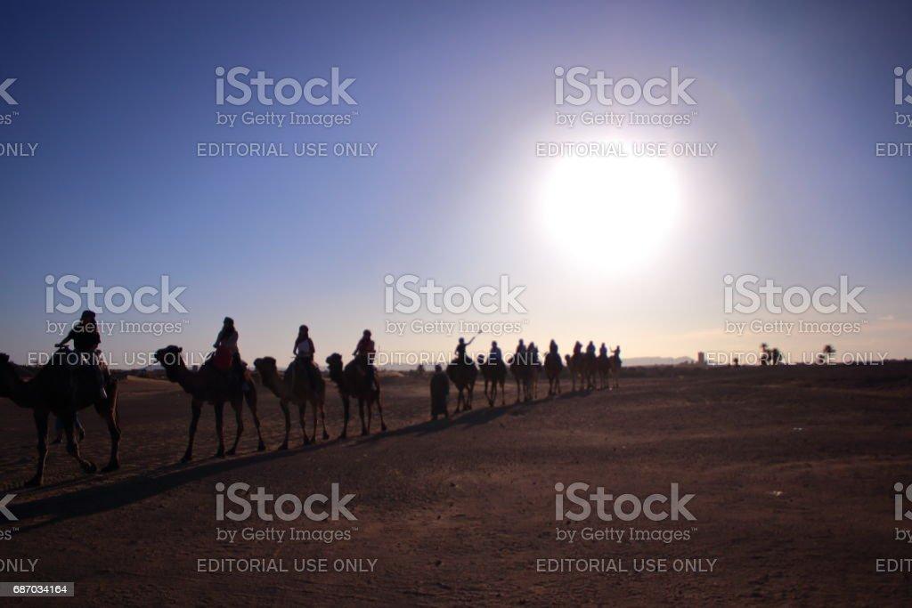 Merjuga, Morocco - MAR 03th, 2017: A Moroccan in desert stock photo
