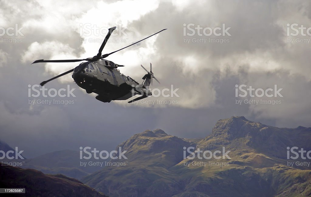 Merlin Helicopter Patroling Cumbrian Mountains stock photo
