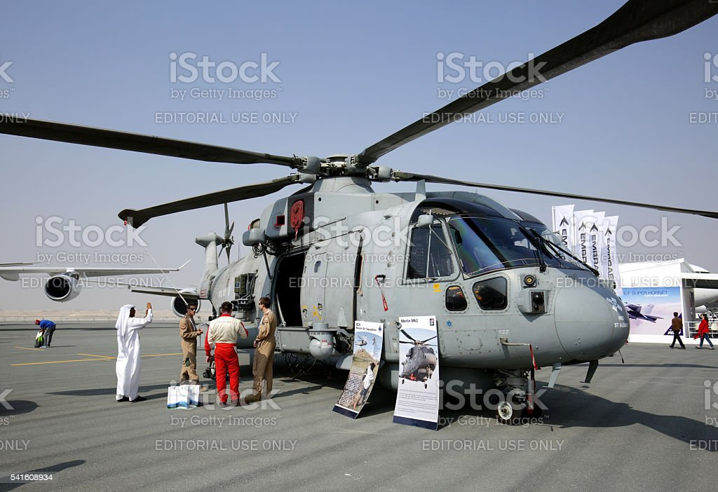 Merlin MK2 Submarine Hunter Helicopter in Bahrain International Airshow stock photo