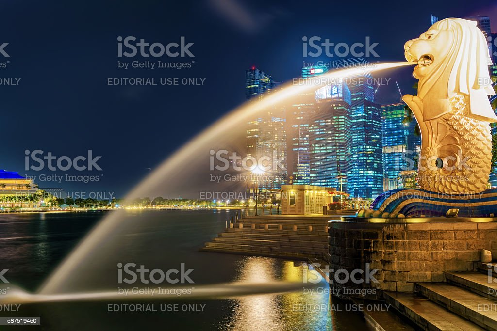 Merlion at Merlion Park at night stock photo