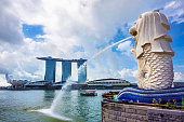 Merlion Statue and Marina Bay Sands Hotel in Singapore