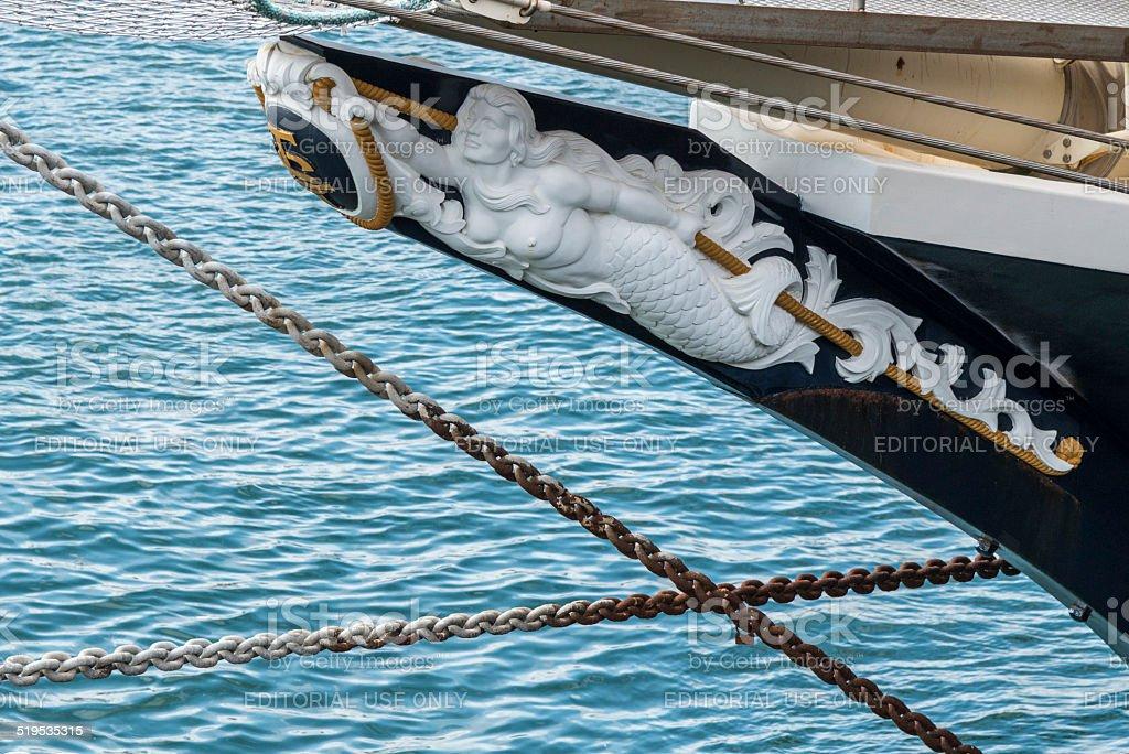 Mermaid figurehead of the Tall Ship Tenacious stock photo