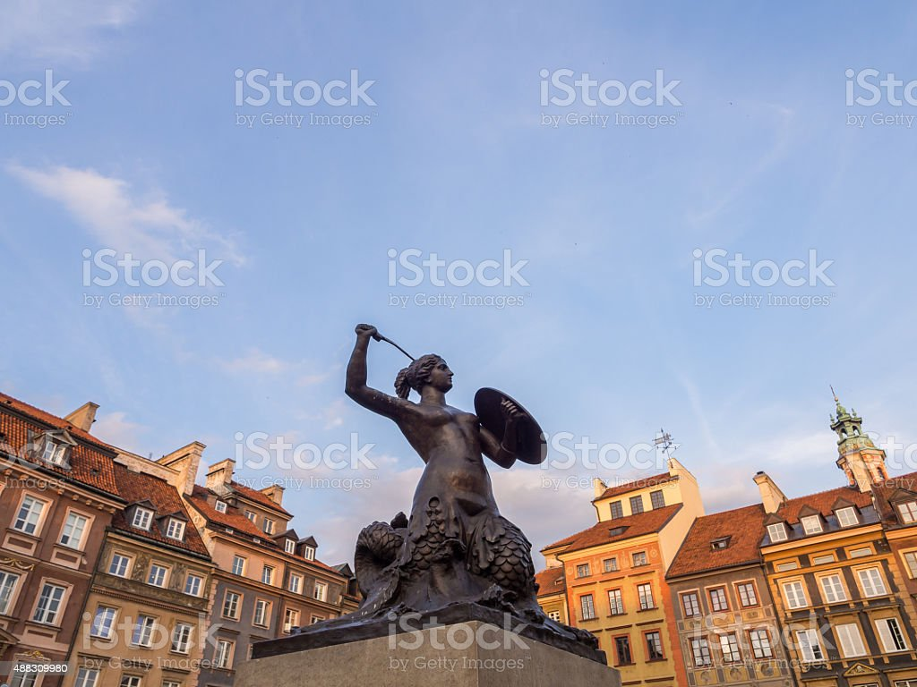 Mermaid on Warsaw's Old Town Market Place stock photo