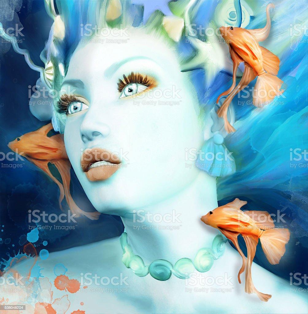 Mermaid portrait stock photo