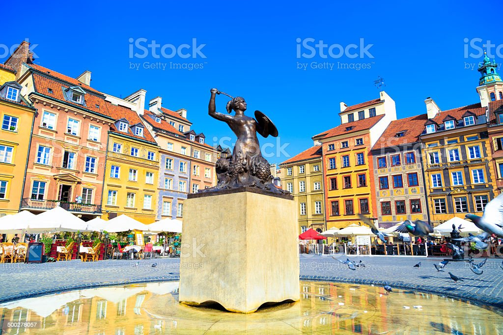 Mermaid statue in Warsaw Old Town stock photo