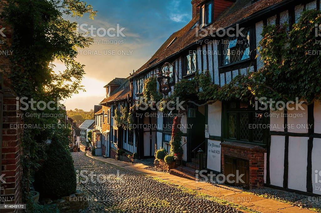 Mermaid Street, Rye, East Sussex, England. stock photo