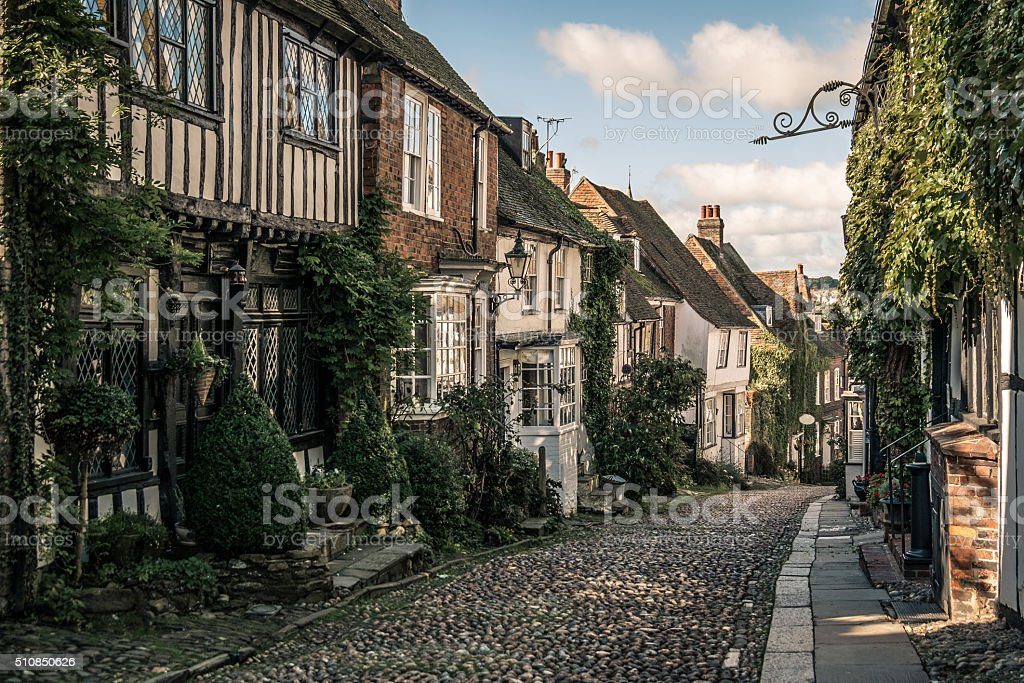 Mermaid Street, Rye, Sussex, England stock photo
