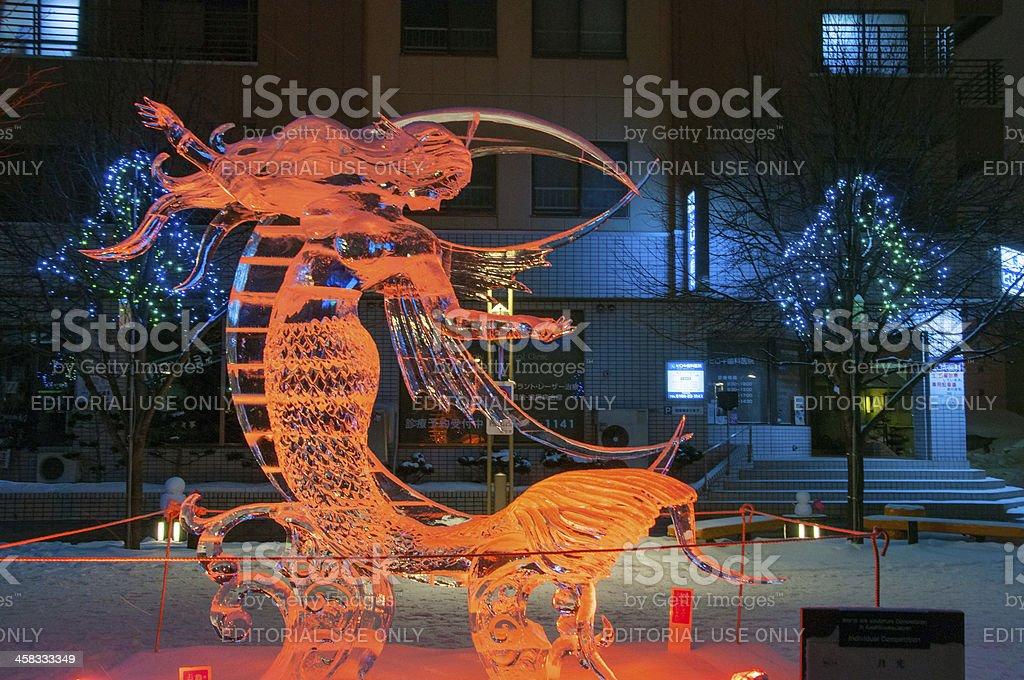 Mermaid with cresent moon sculpture at 45th Asahikawa Winter Festival stock photo