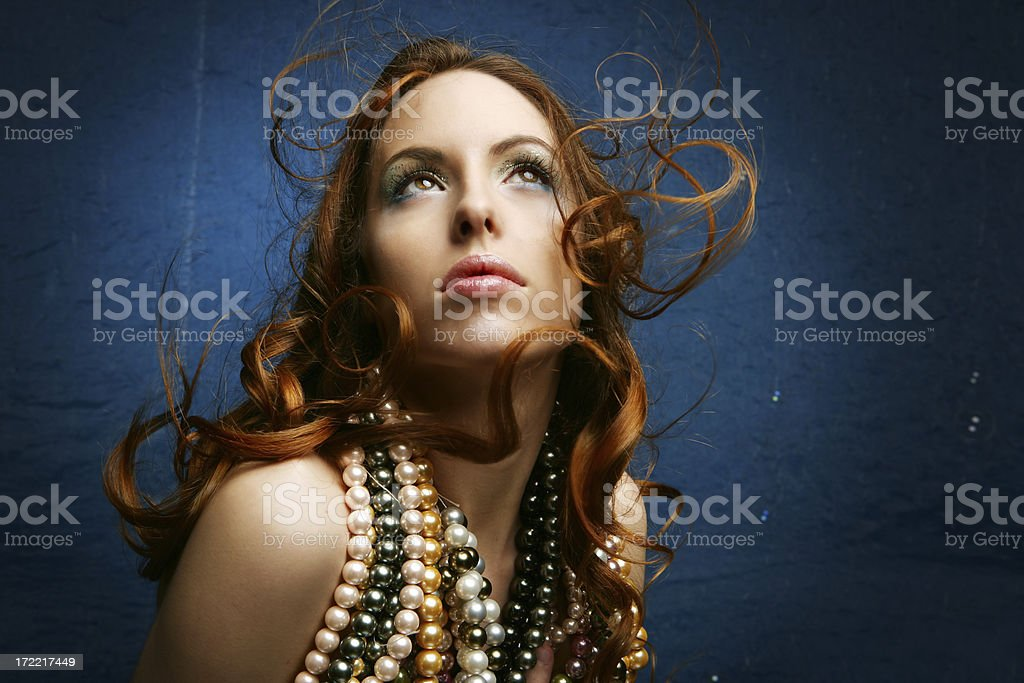 Mermaid with Pearls drop royalty-free stock photo