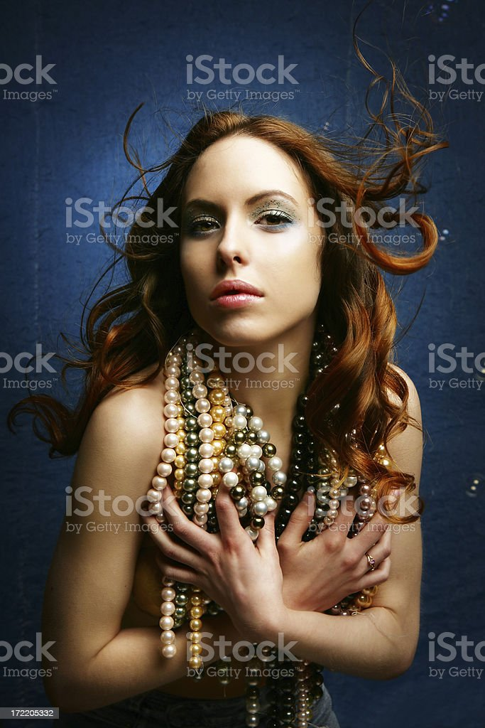 Mermaid with pearls royalty-free stock photo