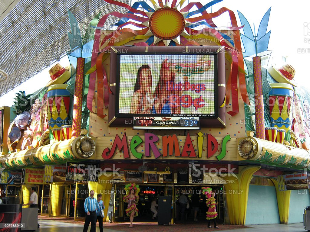Mermaids Casino on Fremont Street selling 99 cent Hog Dogs stock photo
