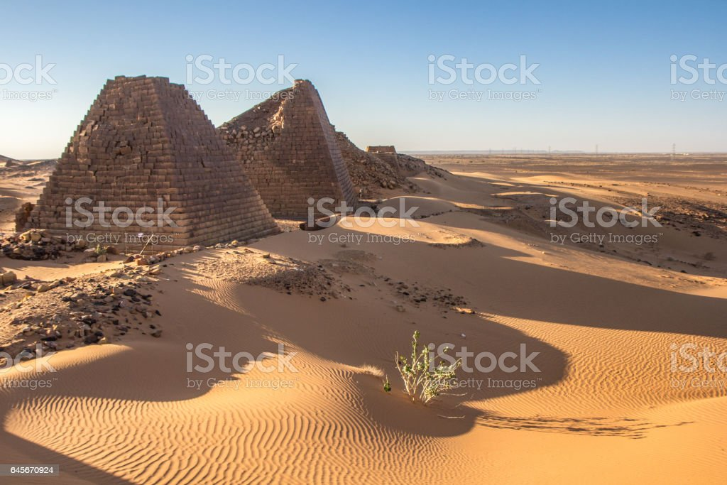 Meroe pyramids at sunrise. stock photo