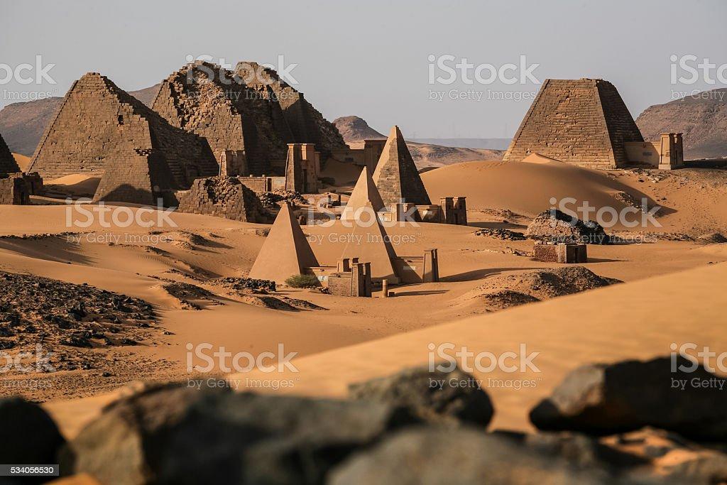 Meroe pyramids in the sahara desert Sudan stock photo