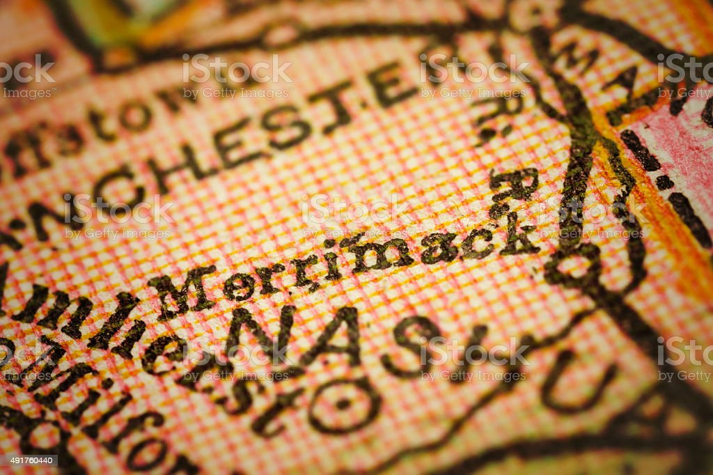 Merrimack, New Hampshire on an Antique map stock photo