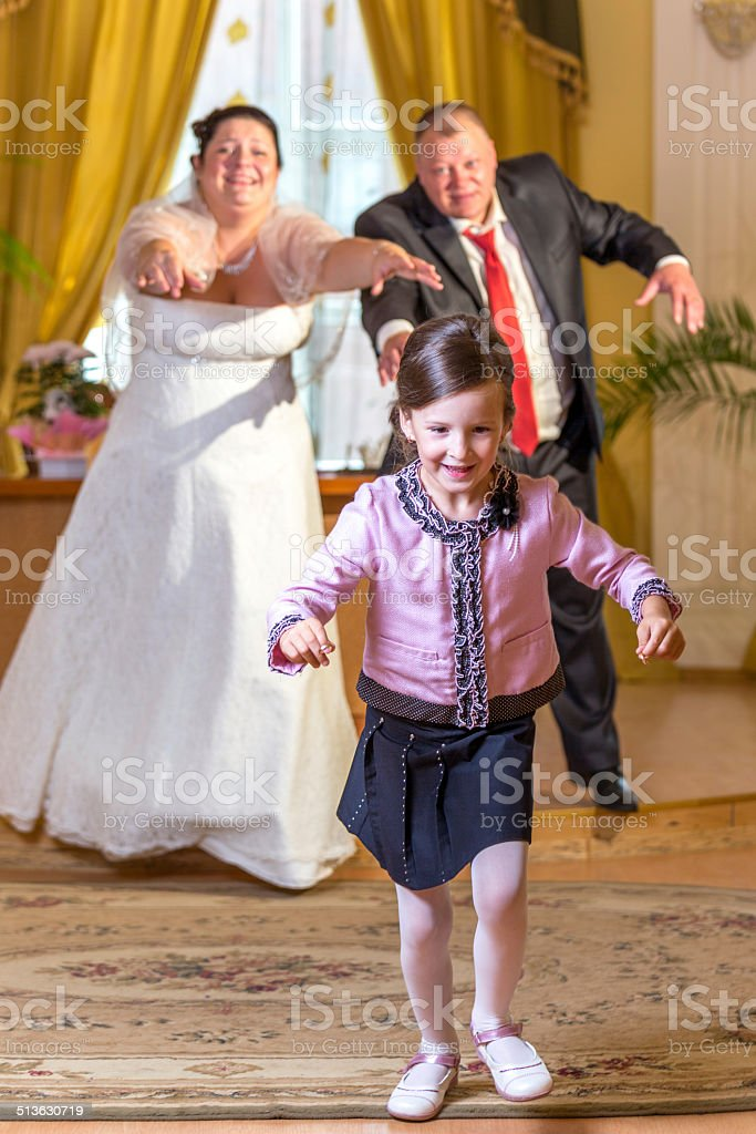 Merry abduction of wedding rings stock photo